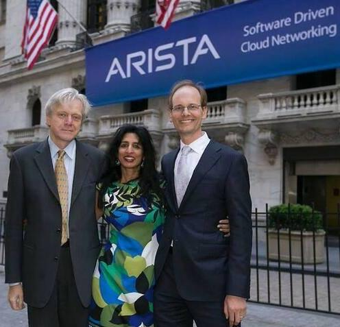 Jayshree Ullal, Arista president and CEO (center); Andy Bechtolsheim, founder, chief development officer and chairman (left); Kenneth Duda: founder, CTO and SVP, software engineering