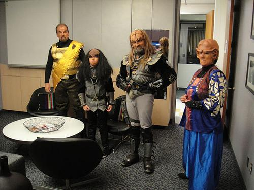 Three Klingons and a Ferengi. Source: The Conmunity - Pop Culture Geek