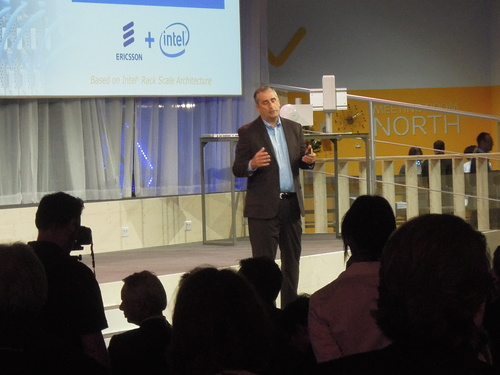 Intel CEO Brian Krzanich talked up the prospects for the HDS 8000 during a presentation at giant Ericsson MWC village.